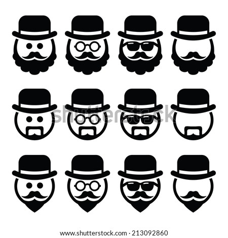 Man in hat with beard and glasses icons set    - stock vector