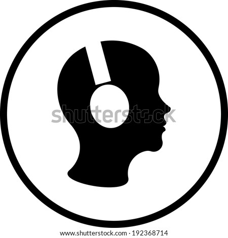 Man in headphones vector icon