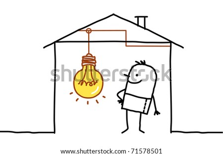 man in house & light bulb - stock vector