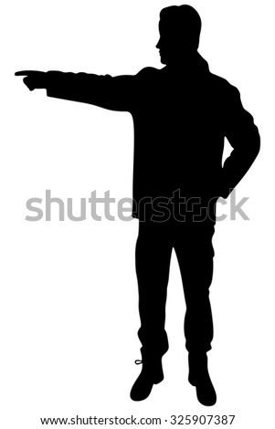 man in jacket pointing