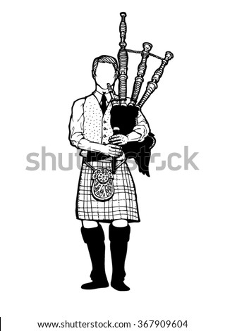 Man in kilt playing a bagpipe - stock vector