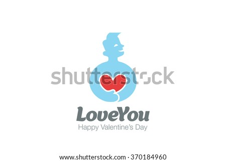Man in Love holding Heart Logo design vector template. Valentines day concept. Cardio Health Logotype. Cardiology medical icon. - stock vector