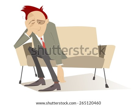 Man in low spirits sits on the edge sofa and puts hands down - stock vector