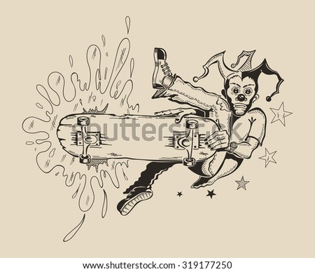 Man in mask of clown to perform tricks on a skateboard. Vector design. - stock vector