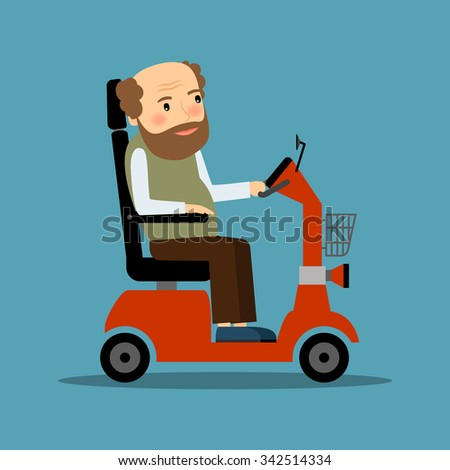Man in motorized Wheelchair driving by himself. Vector illustration. - stock vector