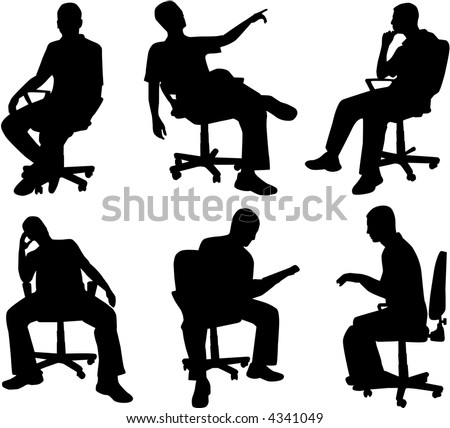 Man in position sitting , vectors work