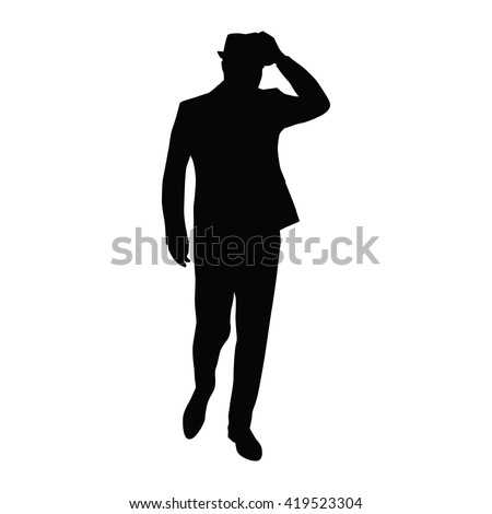 Man in suit bows hat. Vector silhouette. Man walks. Businessman, boss, gentleman, mobster, agent