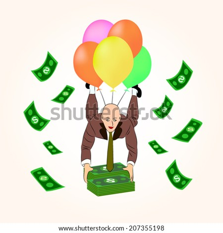 Man in suit dropping down to grab money - stock vector