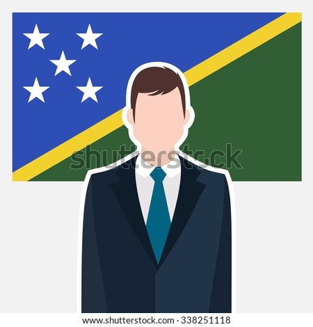 Man in suit Front of Solomon Islands Country Flag. business man Presentation conference concept. Modern flat design vector illustration. Country Flag background