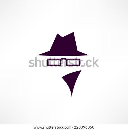 Man in suit. Secret service agent  icon - stock vector