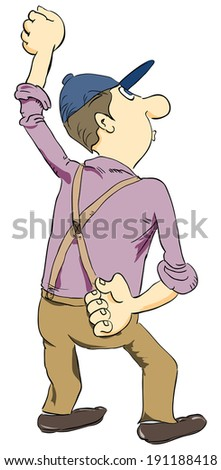 Man in suspenders and cap. Vector cartoon.