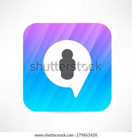 Man in the bubble speech icon - stock vector