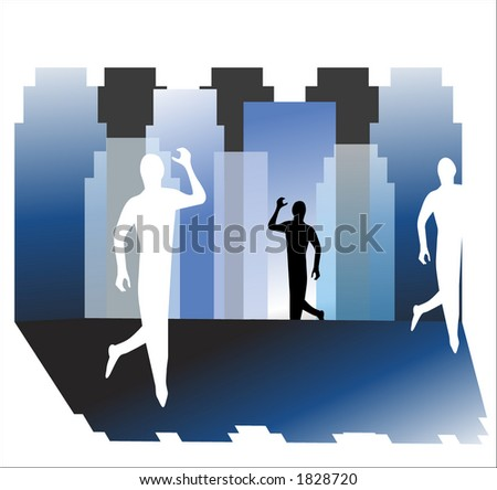 man in the city illustration - stock vector