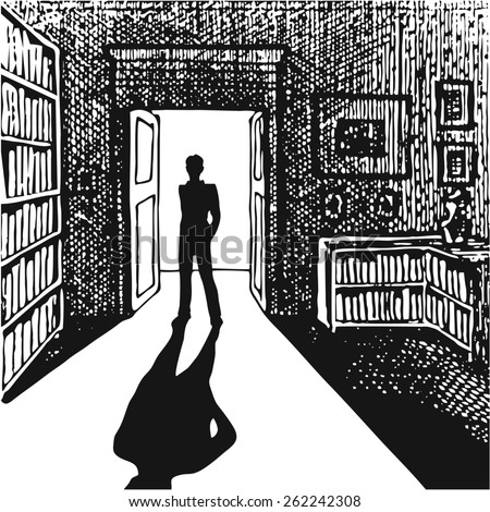 Man in the doorway. Black and white illustration. Vector. Silhouette of man entering dark room with bright light in doorway.