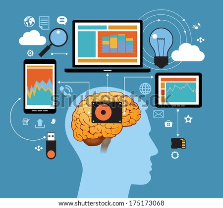 Man in the network information space. Network concept. Abstract illustration of man, computer, tablet, phone and interface icons. Business technology - stock vector