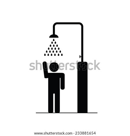 man in the shower icon vector illustration - stock vector