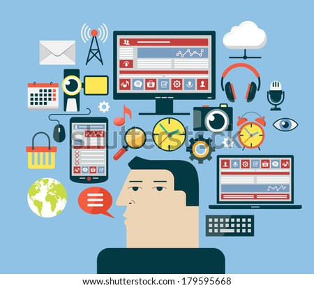 Man in the social media network. Social media network concept. Abstract illustration of man, computer, laptop, phone and interface icons. - stock vector