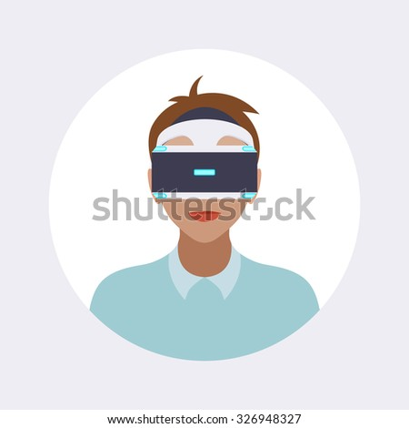 Man in the virtual reality headset. Round icon. Flat design