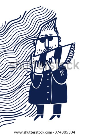 Man in the wind - stock vector