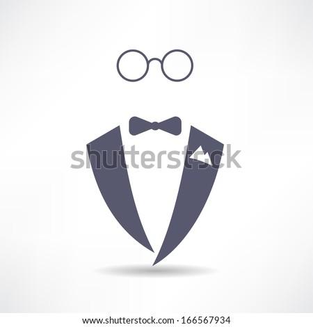 man in tuxedo icon - stock vector