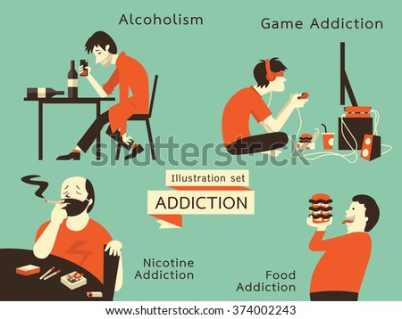 Line Art Illustration Style : Man unhealthy addcition lifestyle acoholism nicotine stock vector hd