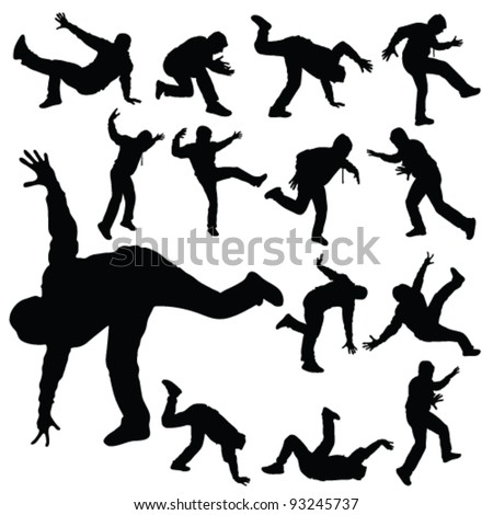 man in various poses of break dance silhouette