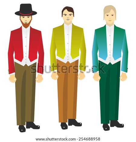 man in vintage costume on a white background. Vector  - stock vector