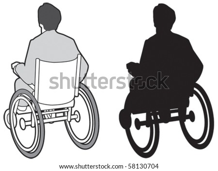 Man in wheelchair - stock vector