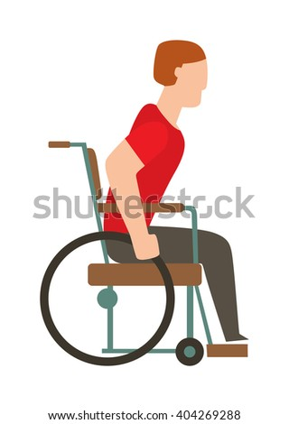 Man in wheelchair invalid disabled help chair vector flat illustration. Disabled invalid chair and medical invalid chair transportation. Human invalid chair handicap equipment assistance transport. - stock vector