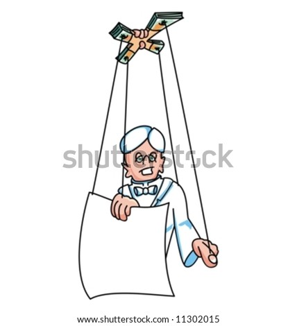 Man in white manipulated as a puppet (Vector)