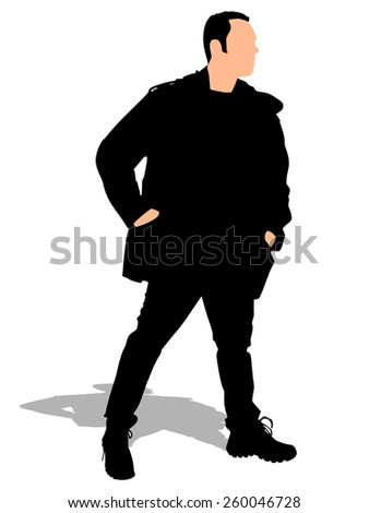 man in winter clothes with hands in pockets, vector - stock vector
