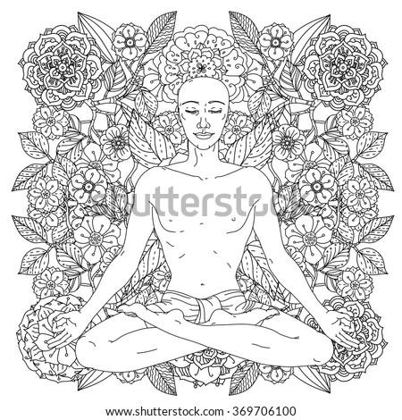 Man In Yoga Lotus Position For Meditation The Logo Studio Postcards