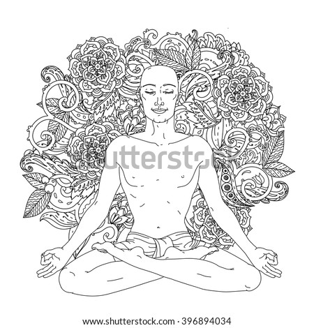 Man In Yoga Lotus Position For Meditation The Logo Studio Postcards
