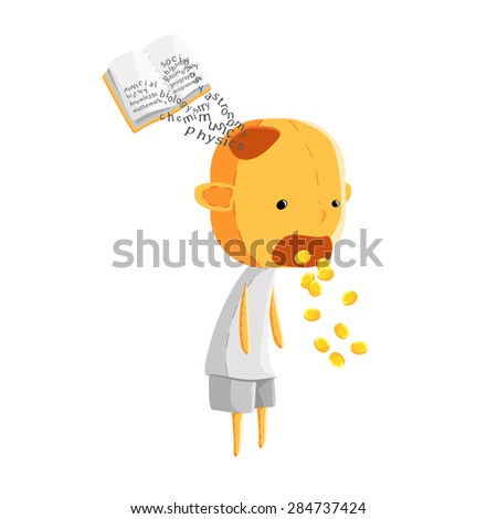 man is an organism act as a tool for converting knowledge coming into his head into money flowing out of his mouth - stock vector