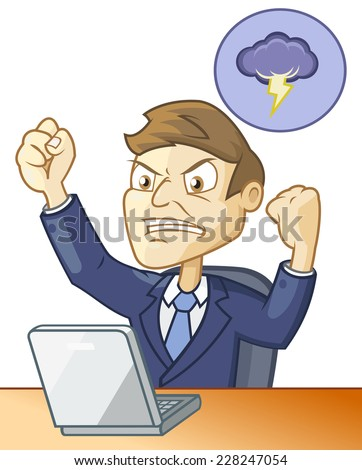 Man is angry because of the fail happens while working on the computer - stock vector