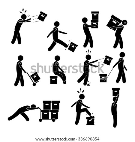Man is capable of transporting luggage, mail. vector icon