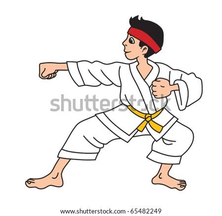 Man is practicing karate exercise cartoon vector illustration - stock vector