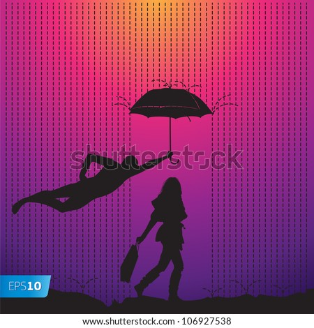 Man is protecting a women with a umbrella, vector Eps10 illustration.