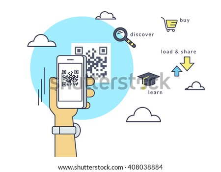 Man is scanning QR code via smartphone app then following the link to the webpage. Flat line contour illustration of barcode scanning via smartphone app - stock vector