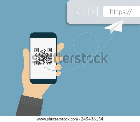 Man is scanning QR code via smartphone app then following the link to webpage - stock vector