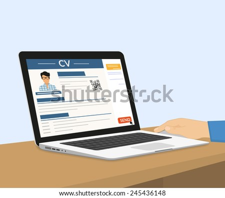 Man is sending his CV via e-mail. Vector illustration with laptop - stock vector