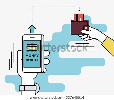 Man is sending money from credit card to his friend via mobile phone. Flat line contour illustration of money transferring via smartphone app - stock vector