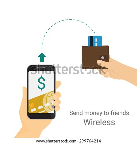 Man is sending money from credit card to his friend via mobile phone. Isolated on white - stock vector