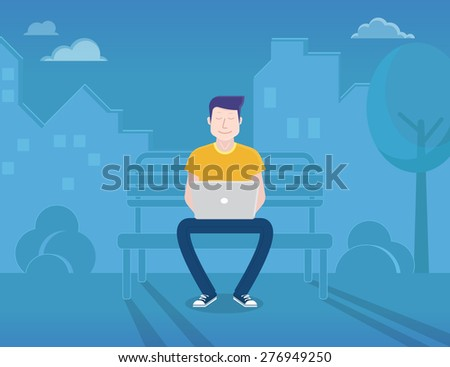 Man is sitting in the street and working with laptop. Flat modern illustration of working process - stock vector