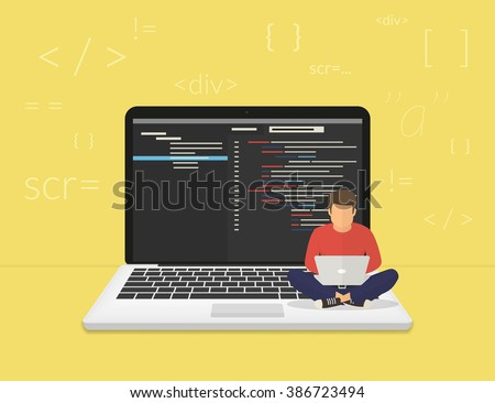 Man is sitting on the big laptop and working. Flat modern illustration of young programmer coding a new project using computer - stock vector