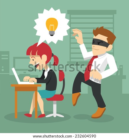 Man is stealing Idea. Vector flat illustration - stock vector