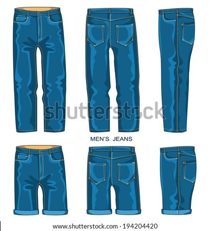 Man jeans pants and shorts isolated for design.Vector fashion clothes - stock vector