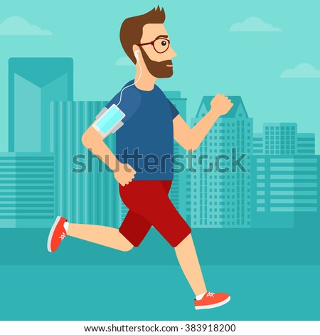 Man jogging with earphones and smartphone. - stock vector