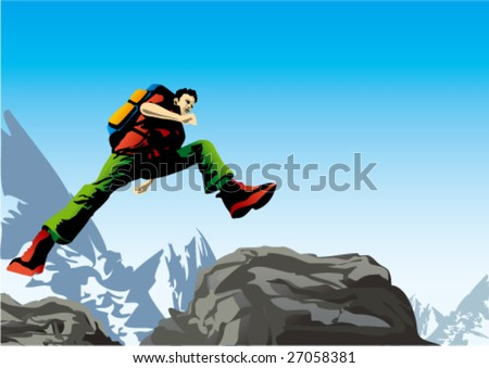 Man jumping in the mountains. Vector.