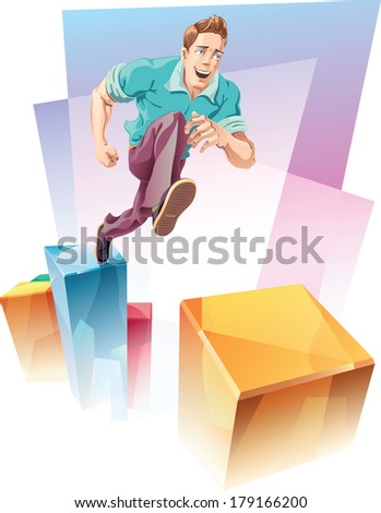 Man jumping levels - stock vector